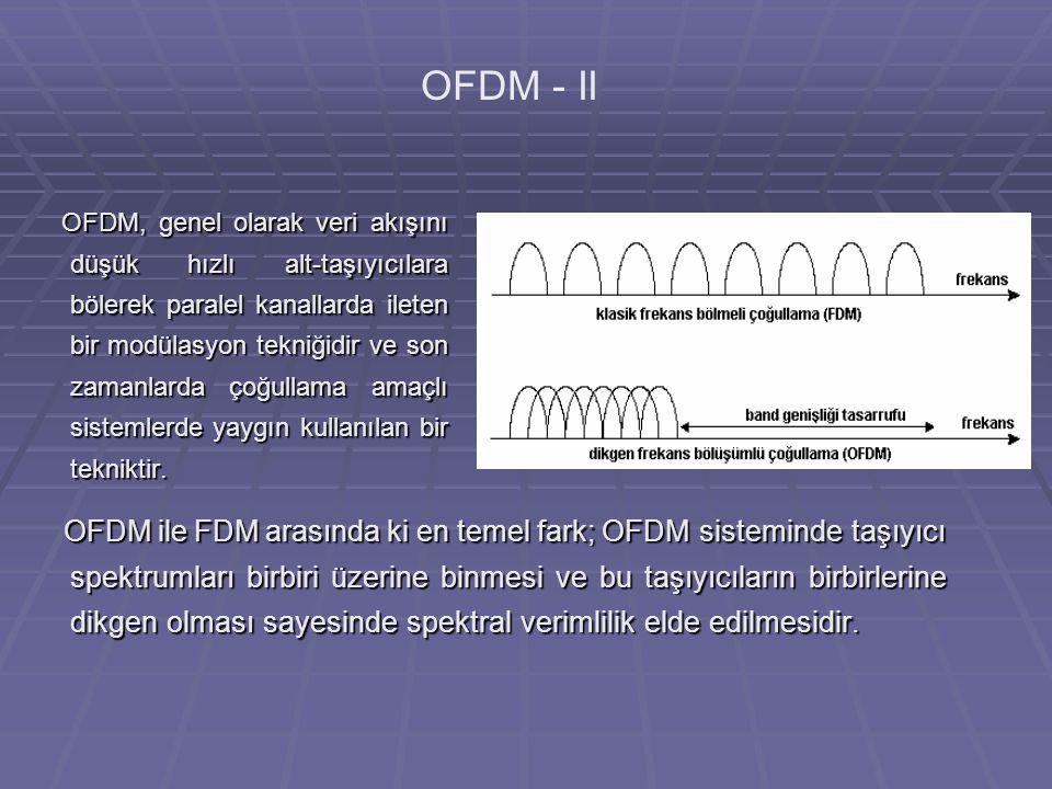OFDM, genel olarak veri akışını düşük hızlı alt-taşıyıcılara bölerek paralel kanallarda ileten bir modülasyon tekniğidir ve son zamanlarda çoğullama amaçlı sistemlerde yaygın kullanılan bir tekniktir.