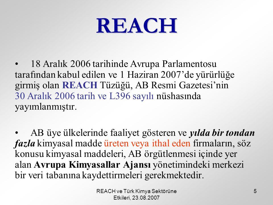 REACH ve Türk Kimya Sektörüne Etkileri, 23.08.2007 5 REACH 18 Aralık 2006 tarihinde Avrupa Parlamentosu tarafından kabul edilen ve 1 Haziran 2007'de yürürlüğe girmiş olan REACH Tüzüğü, AB Resmi Gazetesi'nin 30 Aralık 2006 tarih ve L396 sayılı nüshasında yayımlanmıştır.