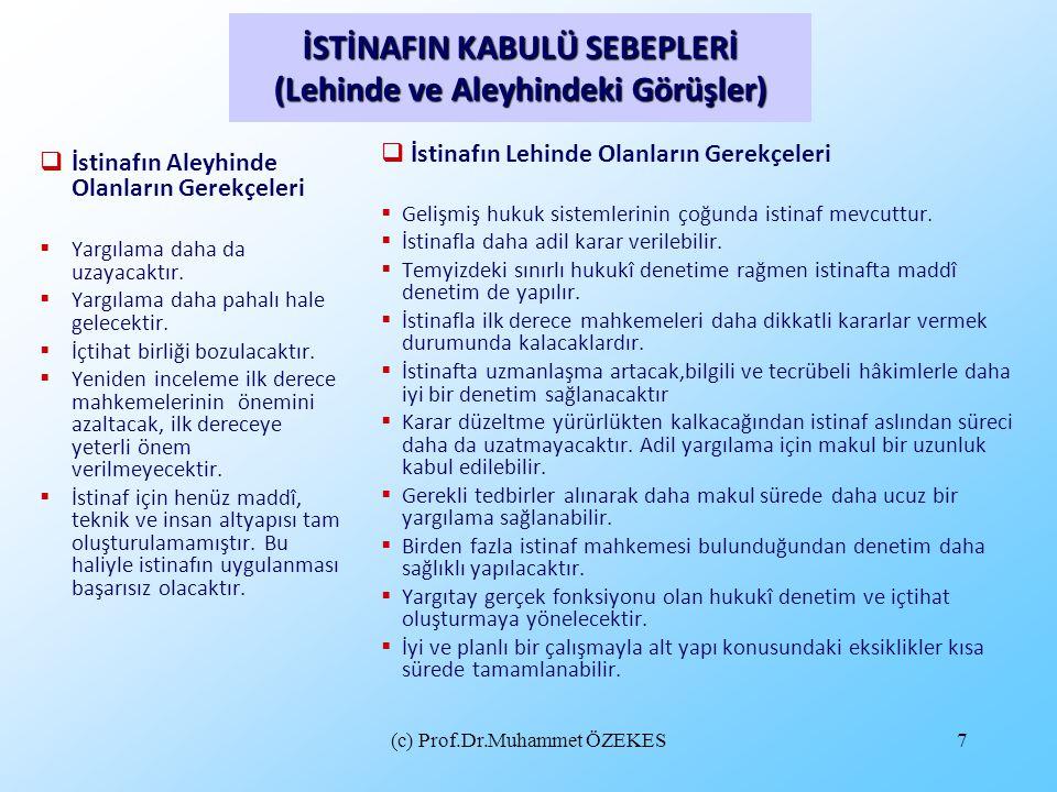 (c) Prof.Dr.Muhammet ÖZEKES58  İstinaf aşamasında, tarafların davadan feragati, kabulü ya da sulh veya uzlaşması (m.