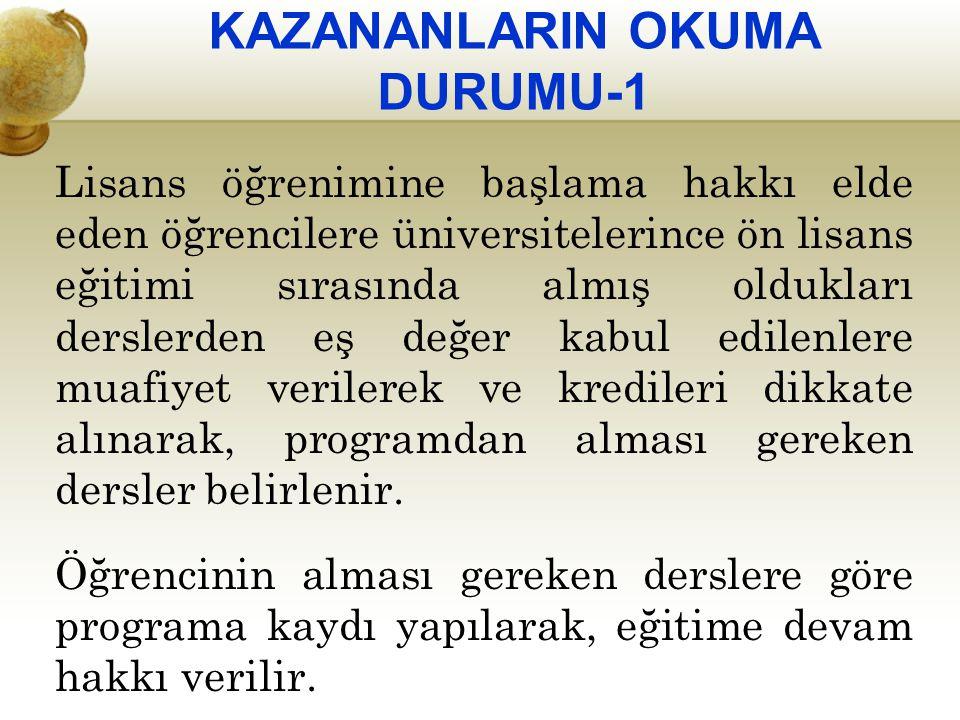 KAZANANLARIN OKUMA DURUMU-1 Lisans öğrenimine başlama hakkı elde eden öğrencilere üniversitelerince ön lisans eğitimi sırasında almış oldukları dersle