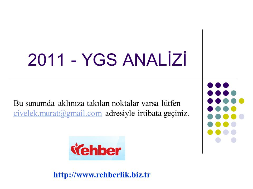 2011 YGS ANALİZİ (TÜRKÇE)  Sorular müfredata uygun, açık, anlaşılır ancak uzun metinlerden oluşuyordu.