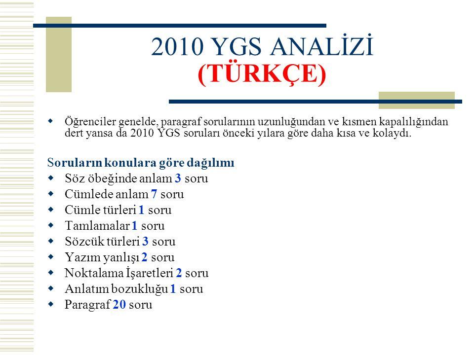 2010 YGS ANALİZİ (TÜRKÇE)  Öğrenciler genelde, paragraf sorularının uzunluğundan ve kısmen kapalılığından dert yansa da 2010 YGS soruları önceki yıla