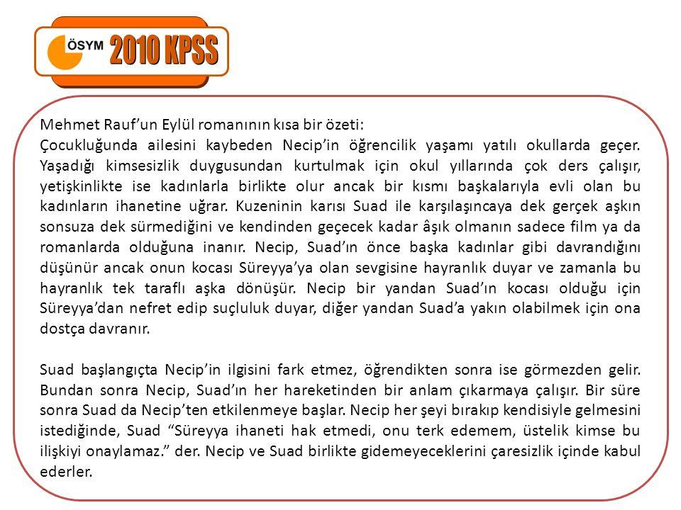 Mehmet Rauf'un Eylül romanının kısa bir özeti: Çocukluğunda ailesini kaybeden Necip'in öğrencilik yaşamı yatılı okullarda geçer. Yaşadığı kimsesizlik