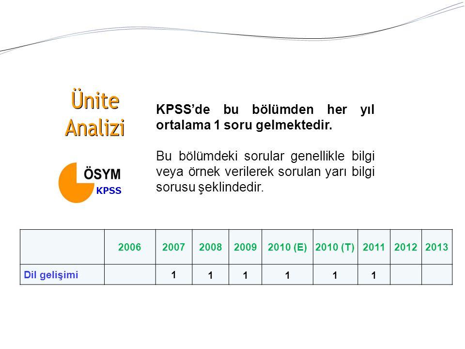KPSS'de bu bölümden her yıl ortalama 1 soru gelmektedir.