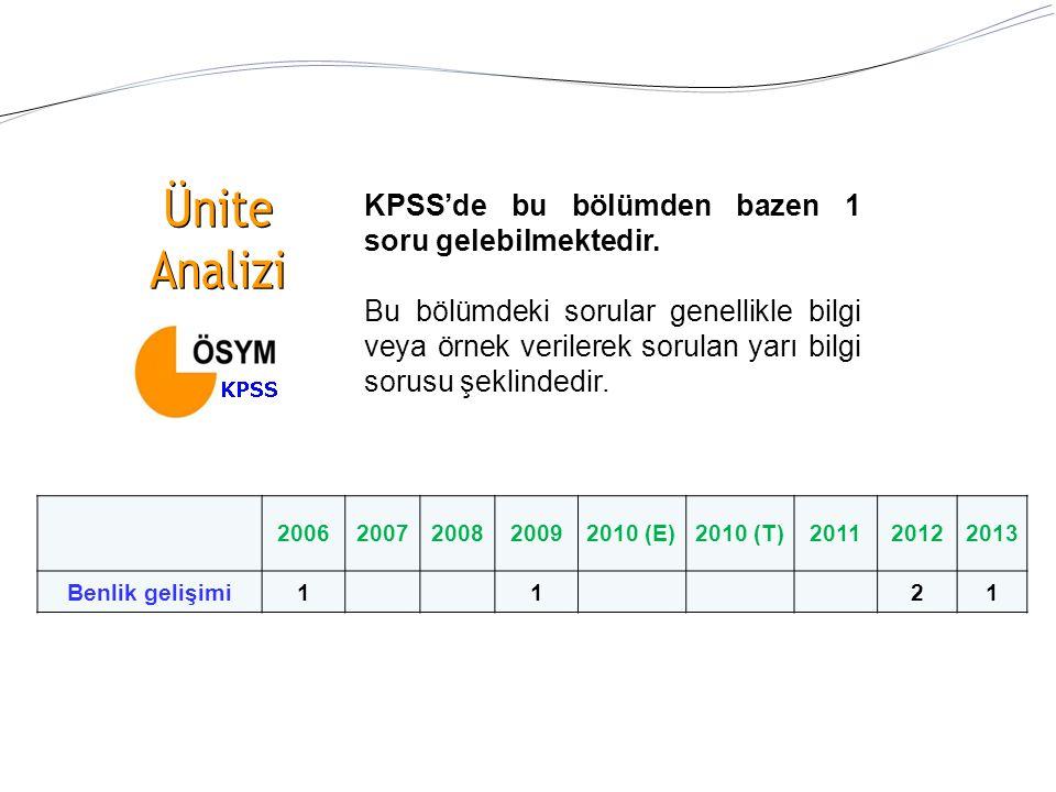 KPSS'de bu bölümden bazen 1 soru gelebilmektedir. Bu bölümdeki sorular genellikle bilgi veya örnek verilerek sorulan yarı bilgi sorusu şeklindedir. 20