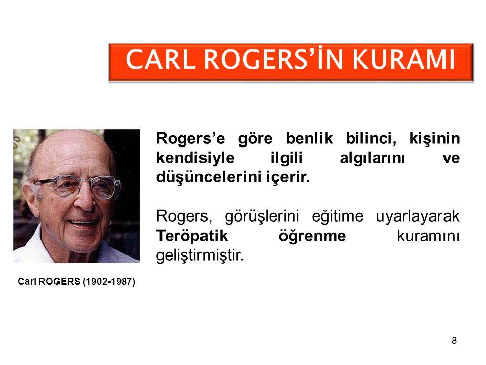 8 CARL ROGERS'İN KURAMI Rogers'e göre benlik bilinci, kişinin kendisiyle ilgili algılarını ve düşüncelerini içerir. Rogers, görüşlerini eğitime uyarla