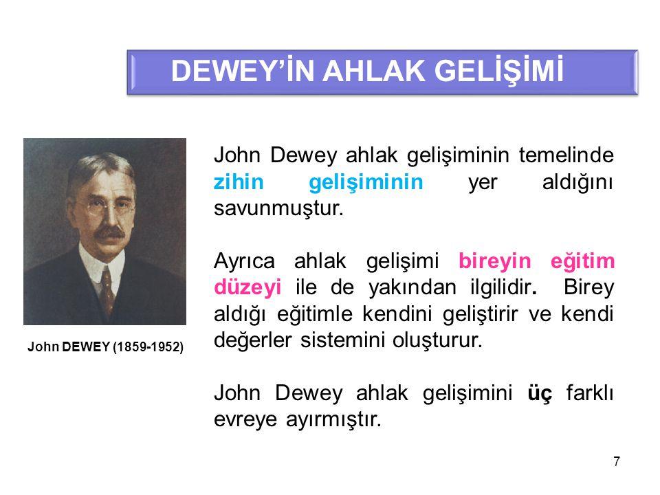 7 DEWEY'İN AHLAK GELİŞİMİ John DEWEY (1859-1952) John Dewey ahlak gelişiminin temelinde zihin gelişiminin yer aldığını savunmuştur. Ayrıca ahlak geliş