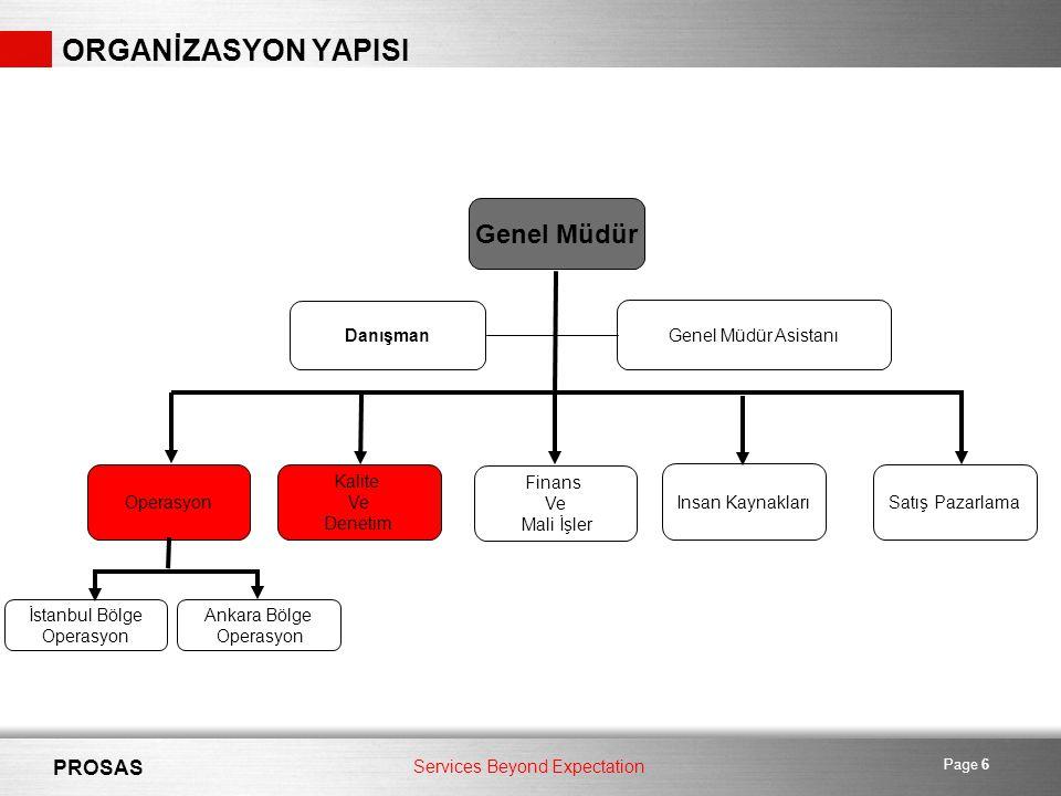 Services Beyond Expectation PROSAS Page 6 ORGANİZASYON YAPISI Genel Müdür Danışman Genel Müdür Asistanı Operasyon İstanbul Bölge Operasyon Ankara Bölge Operasyon Kalite Ve Denetim Finans Ve Mali İşler Insan Kaynakları Satış Pazarlama