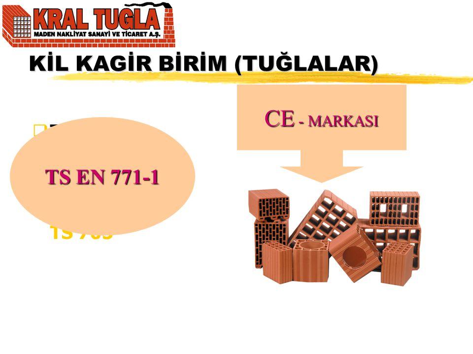 KİL KAGİR BİRİM (TUĞLALAR)  Tuğla TS 4563 TS 4377 TS 704 TS 705 TS EN 771-1 CE - MARKASI