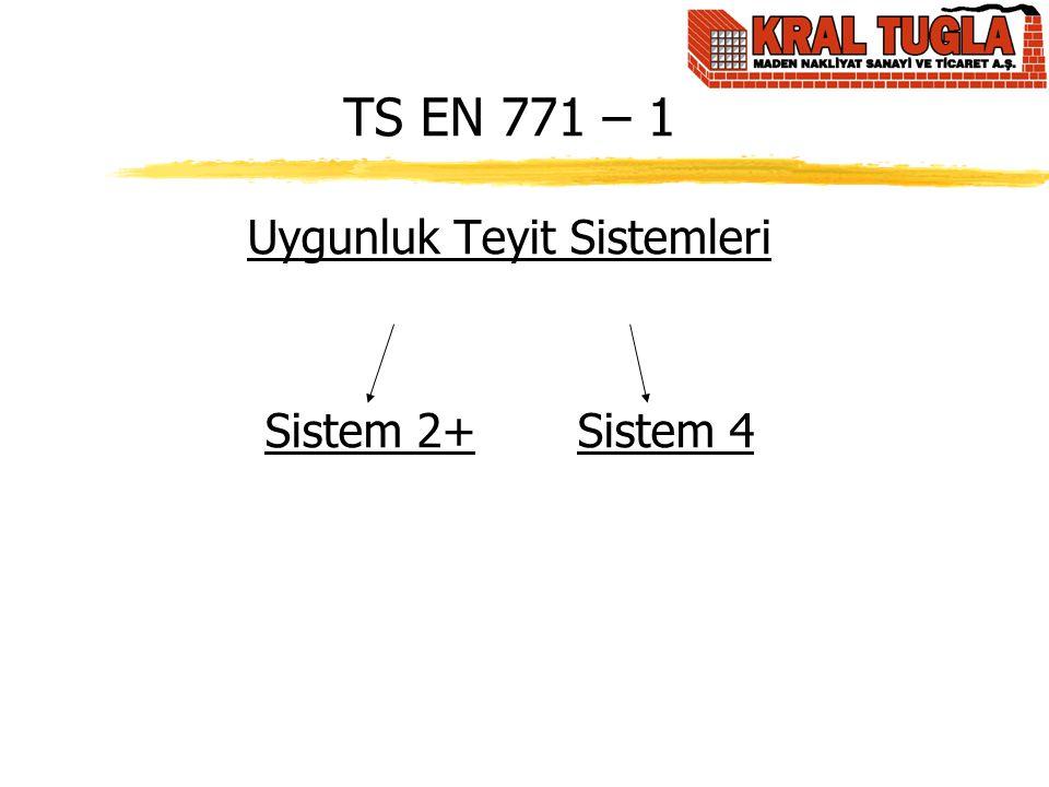 TS EN 771 – 1 Uygunluk Teyit Sistemleri Sistem 2+ Sistem 4