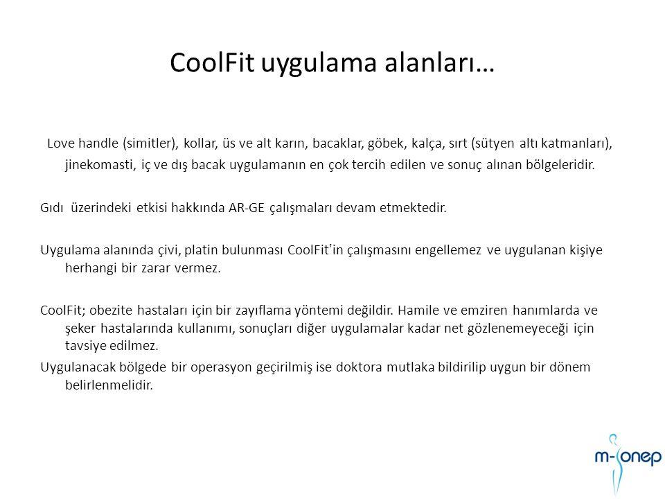 CoolFit uygulama alanları… Love handle (simitler), kollar, üs ve alt karın, bacaklar, göbek, kalça, sırt (sütyen altı katmanları), jinekomasti, iç ve
