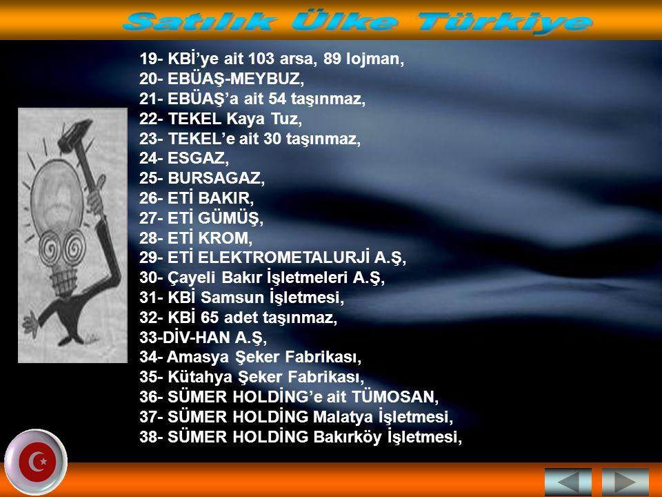AKP Hükümetinin Aralık 2002 den itibaren sattıkları… 1-TAKSAN, 2-GERKONSAN, 3-SEKA Afyon İşletmesi, 4- SEKA Balıkesir İşletmesi, 5- SEKA Çaycuma İşletmesi, 6- SEKA Kastamonu İşletmesi, 7- SEKA Aksu İşletmesi, 8- SEKA Taşucu Tersane Alanı, 9- SEKA'ya ait 4 taşınmaz, 10- TZD Sakarya İşletmesi, 11- THY USAŞ, 12- TDİ Trabzon Limanı, 13- TDİ Dikili Limanı, 14- TDİ Kuşadası Limanı, 15- Sümer Holding'e Ait Merinos Halı Fabrikası, 16- SÜMER HOLDİNG'E Ait ERYAĞ, 17- SÜMER HOLDİNG'E Ait Adıyaman İşletmesi, 18- SÜMER HOLDİNG'e ait 117 adet taşınmaz,
