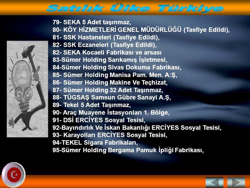 59- EBÜAŞ Manisa Kombinası, 60- EBÜAŞ Manisa Arsası, 61- EBÜAŞ'a ait 101 adet Taşınmaz, 62- TDİ ANKARA FERİBOTU, 63- TDİ Samsun Feribotu, 64- PETKİM 2