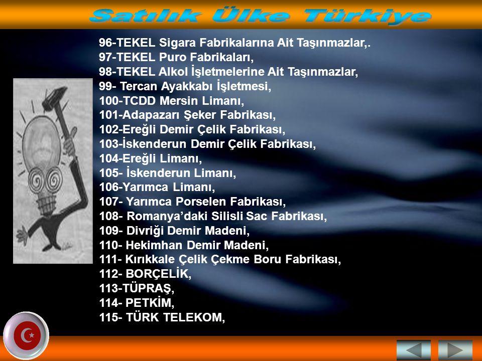 79- SEKA 5 Adet taşınmaz, 80- KÖY HİZMETLERİ GENEL MÜDÜRLÜĞÜ (Tasfiye Edildi), 81- SSK Hastaneleri (Tasfiye Edildi), 82- SSK Eczaneleri (Tasfiye Edildi), 82- SEKA Kocaeli Fabrikası ve arsası 83-Sümer Holding Sarıkamış İşletmesi, 84-Sümer Holding Sivas Dokuma Fabrikası, 85- Sümer Holding Manisa Pam.