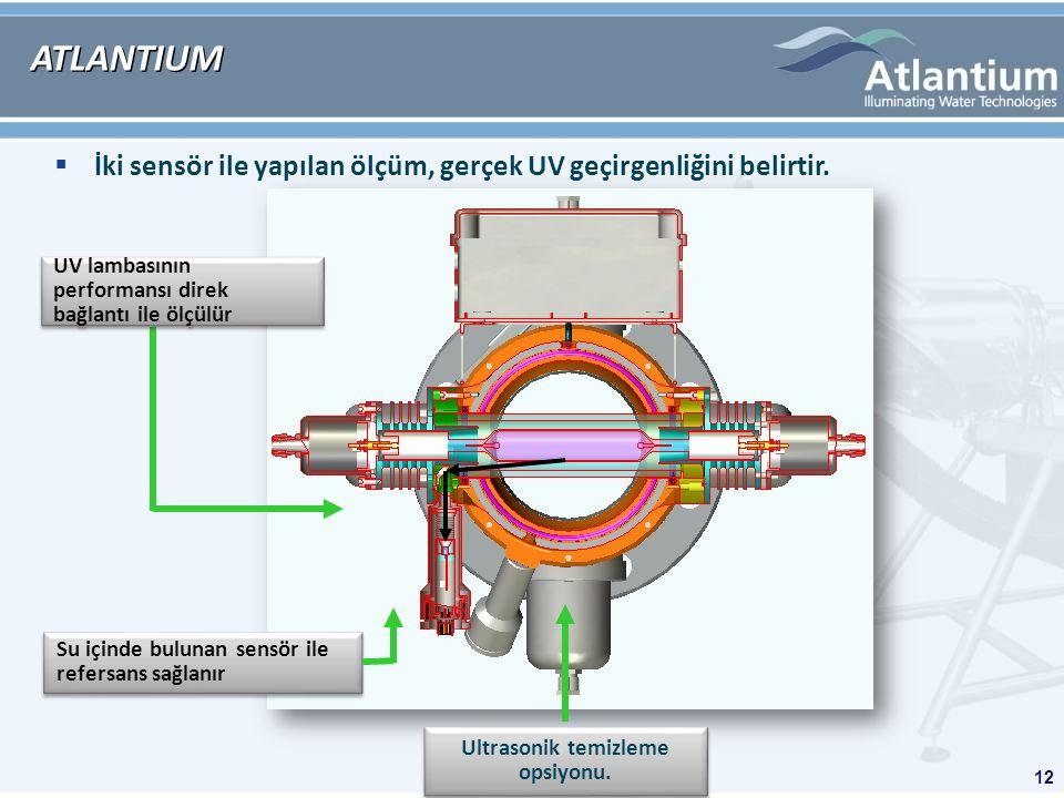 12 ATLANTIUM Su içinde bulunan sensör ile refersans sağlanır UV lambasının performansı direk bağlantı ile ölçülür  İki sensör ile yapılan ölçüm, gerçek UV geçirgenliğini belirtir.