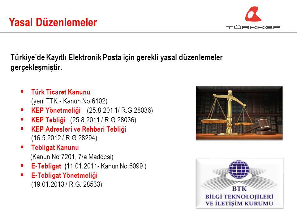 Yasal Düzenlemeler  Türk Ticaret Kanunu (yeni TTK - Kanun No:6102)  KEP Yönetmeliği (25.8.201 1/ R.G.28036)  KEP Tebliği (25.8.2011 / R.G.28036)  KEP Adresleri ve Rehberi Tebliği (16.5.2012 / R.G.28294)  Tebligat Kanunu (Kanun No:7201, 7/a Maddesi)  E-Tebligat ( 11.01.2011- Kanun No:6099 )  E-Tebligat Yönetmeliği (19.01.2013 / R.G.
