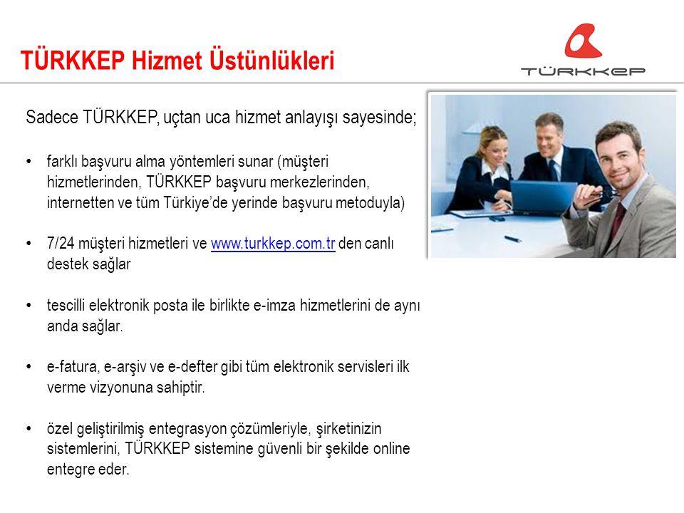 TÜRKKEP Hizmet Üstünlükleri Sadece TÜRKKEP, uçtan uca hizmet anlayışı sayesinde; farklı başvuru alma yöntemleri sunar (müşteri hizmetlerinden, TÜRKKEP başvuru merkezlerinden, internetten ve tüm Türkiye'de yerinde başvuru metoduyla) 7/24 müşteri hizmetleri ve www.turkkep.com.tr den canlı destek sağlarwww.turkkep.com.tr tescilli elektronik posta ile birlikte e-imza hizmetlerini de aynı anda sağlar.