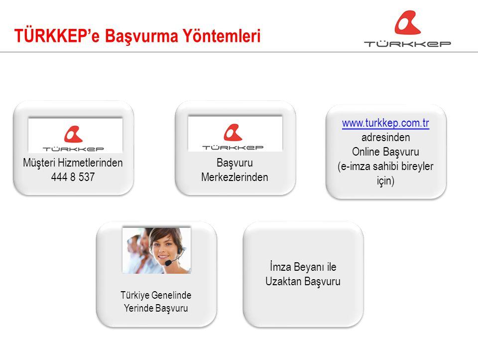 TÜRKKEP'e Başvurma Yöntemleri www.turkkep.com.tr www.turkkep.com.tr adresinden Online Başvuru (e-imza sahibi bireyler için) www.turkkep.com.tr www.turkkep.com.tr adresinden Online Başvuru (e-imza sahibi bireyler için) Türkiye Genelinde Yerinde Başvuru Müşteri Hizmetlerinden 444 8 537 Müşteri Hizmetlerinden 444 8 537 Başvuru Merkezlerinden İmza Beyanı ile Uzaktan Başvuru