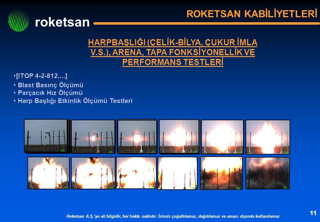 roketsan Roketsan A.Ş.'ye ait bilgidir, her hakkı saklıdır. İzinsiz çoğaltılamaz, dağıtılamaz ve amacı dışında kullanılamaz 11 ROKETSAN KABİLİYETLERİ