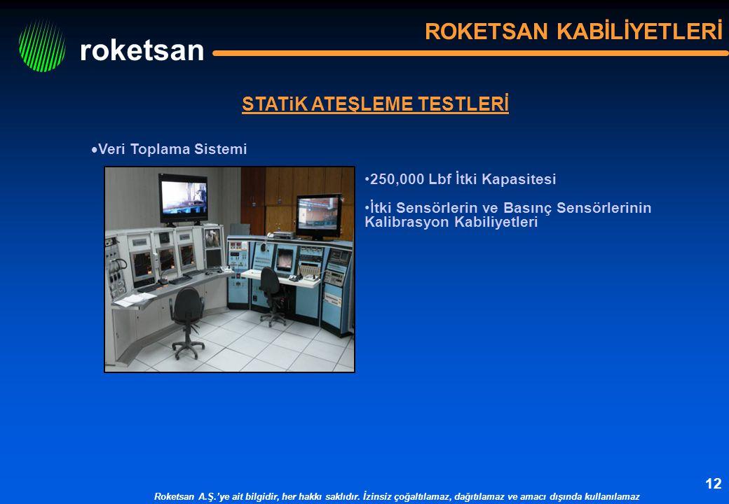 roketsan Roketsan A.Ş.'ye ait bilgidir, her hakkı saklıdır. İzinsiz çoğaltılamaz, dağıtılamaz ve amacı dışında kullanılamaz 12 STATiK ATEŞLEME TESTLER