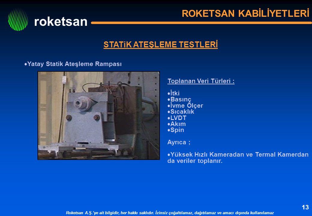 roketsan Roketsan A.Ş.'ye ait bilgidir, her hakkı saklıdır. İzinsiz çoğaltılamaz, dağıtılamaz ve amacı dışında kullanılamaz 13 STATiK ATEŞLEME TESTLER