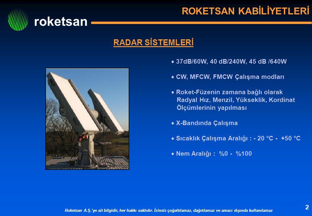 roketsan Roketsan A.Ş.'ye ait bilgidir, her hakkı saklıdır. İzinsiz çoğaltılamaz, dağıtılamaz ve amacı dışında kullanılamaz 2 ROKETSAN KABİLİYETLERİ R