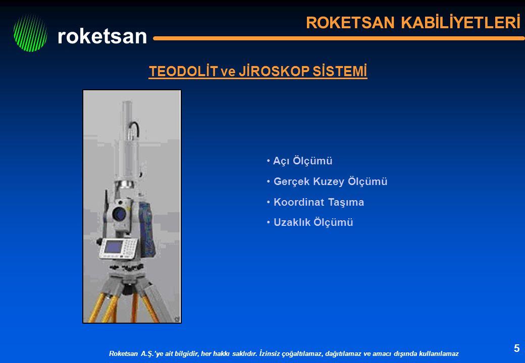 roketsan Roketsan A.Ş.'ye ait bilgidir, her hakkı saklıdır. İzinsiz çoğaltılamaz, dağıtılamaz ve amacı dışında kullanılamaz 5 TEODOLİT ve JİROSKOP SİS