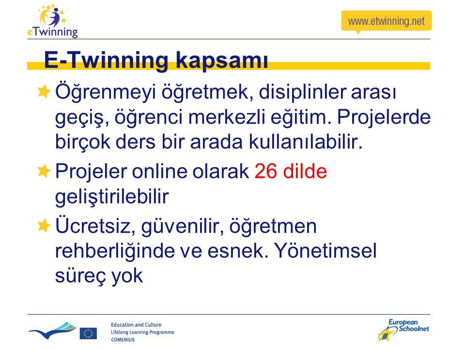 E-Twinning kapsamı Öğrenmeyi öğretmek, disiplinler arası geçiş, öğrenci merkezli eğitim. Projelerde birçok ders bir arada kullanılabilir. Projeler onl