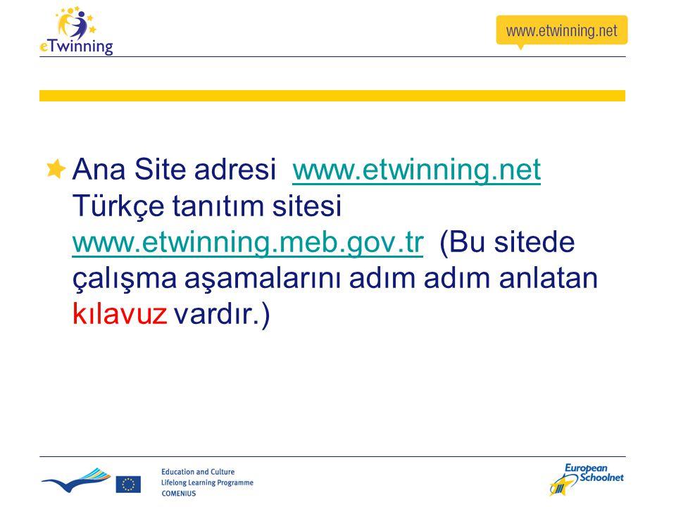 Ana Site adresi www.etwinning.net Türkçe tanıtım sitesi www.etwinning.meb.gov.tr (Bu sitede çalışma aşamalarını adım adım anlatan kılavuz vardır.)www.