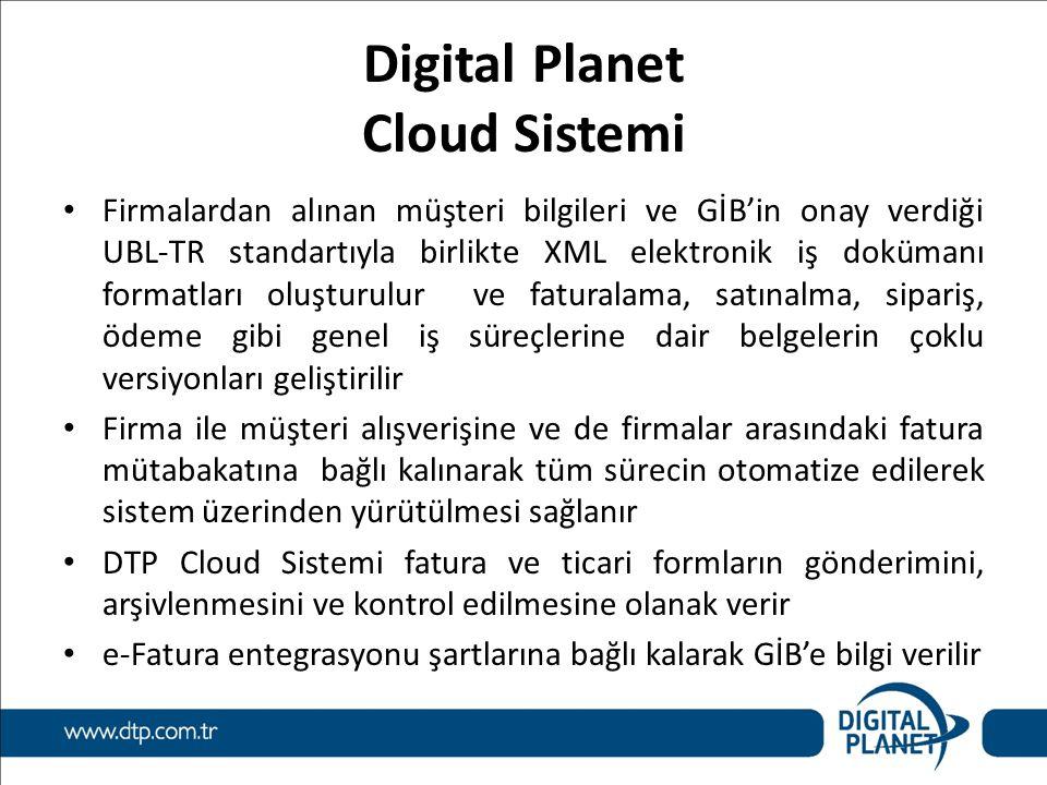 Digital Planet Cloud Sistemi Firmalardan alınan müşteri bilgileri ve GİB'in onay verdiği UBL-TR standartıyla birlikte XML elektronik iş dokümanı forma
