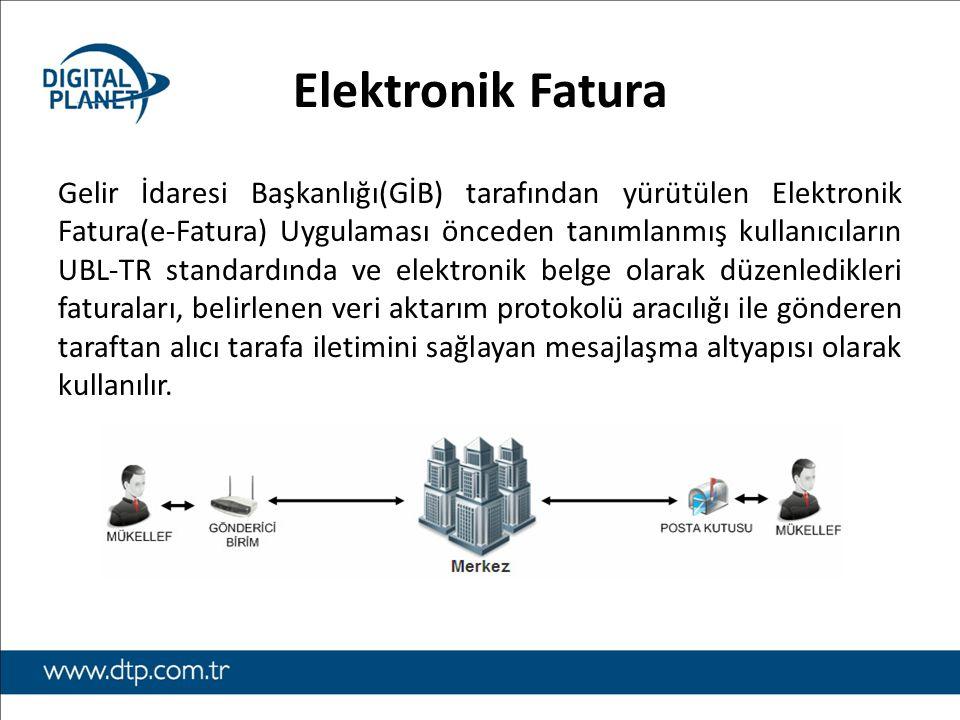 Elektronik Fatura Gelir İdaresi Başkanlığı(GİB) tarafından yürütülen Elektronik Fatura(e-Fatura) Uygulaması önceden tanımlanmış kullanıcıların UBL-TR