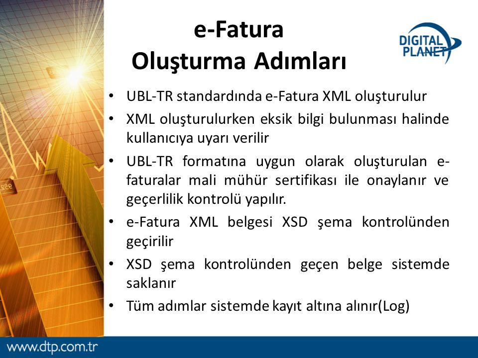 e-Fatura Oluşturma Adımları UBL-TR standardında e-Fatura XML oluşturulur XML oluşturulurken eksik bilgi bulunması halinde kullanıcıya uyarı verilir UB