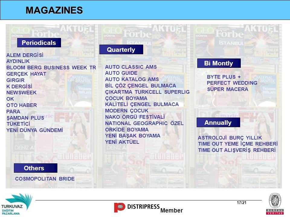Member 17/21 Periodicals Quarterly Bi Montly Others Annually MAGAZINES ASTROLOJİ BURÇ YILLIK TIME OUT YEME İÇME REHBERİ TIME OUT ALIŞVERİŞ REHBERİ COS