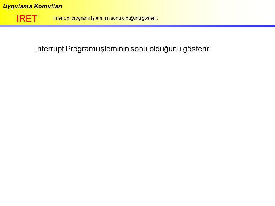 Uygulama Komutları IRET Interrupt programı işleminin sonu olduğunu gösterir. Interrupt Programı işleminin sonu olduğunu gösterir.