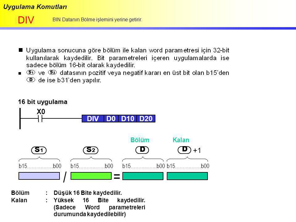 Uygulama Komutları DIV BIN Datanın Bölme işlemini yerine getirir. 16 bit uygulama / = +1 D S 1 b15..................b00 S 2 D Bölüm Kalan Bölüm:Düşük