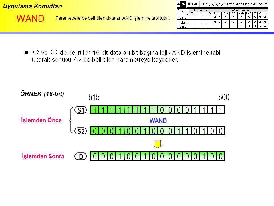 Uygulama Komutları WAND Parametrelerde belirtilen dataları AND işlemine tabi tutar. ÖRNEK (16-bit) 1111111101111000 0001001000001011 WAND 000100100000