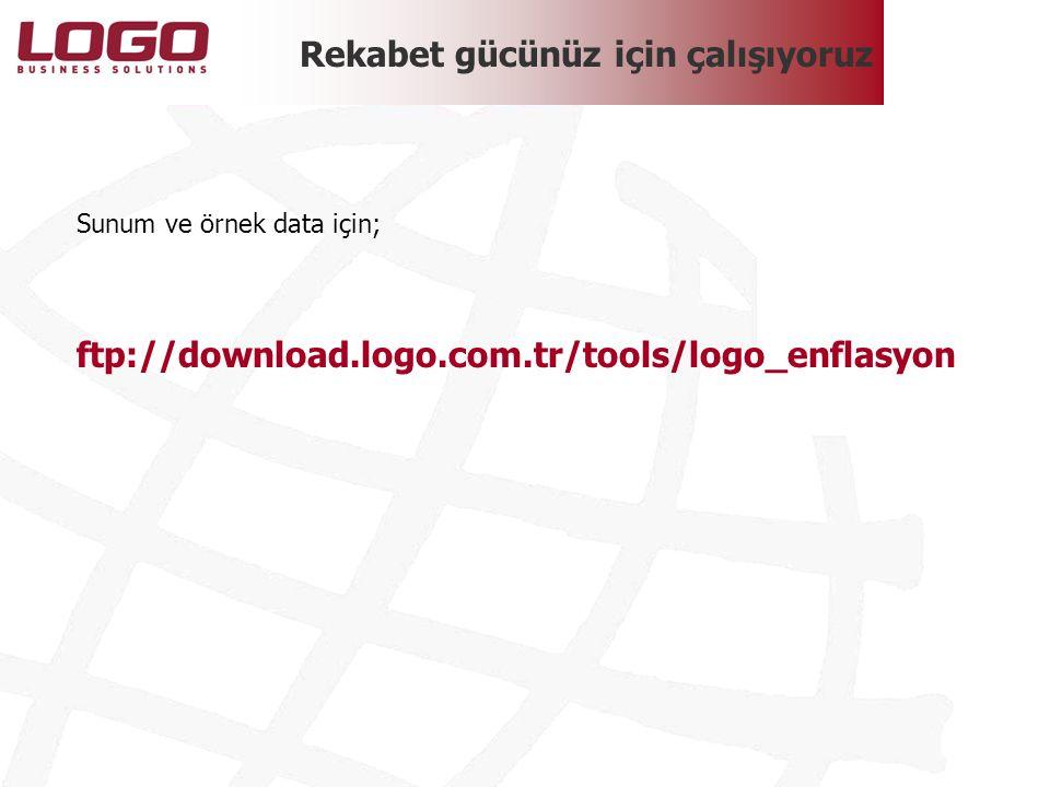 Rekabet gücünüz için çalışıyoruz Sunum ve örnek data için; ftp://download.logo.com.tr/tools/logo_enflasyon