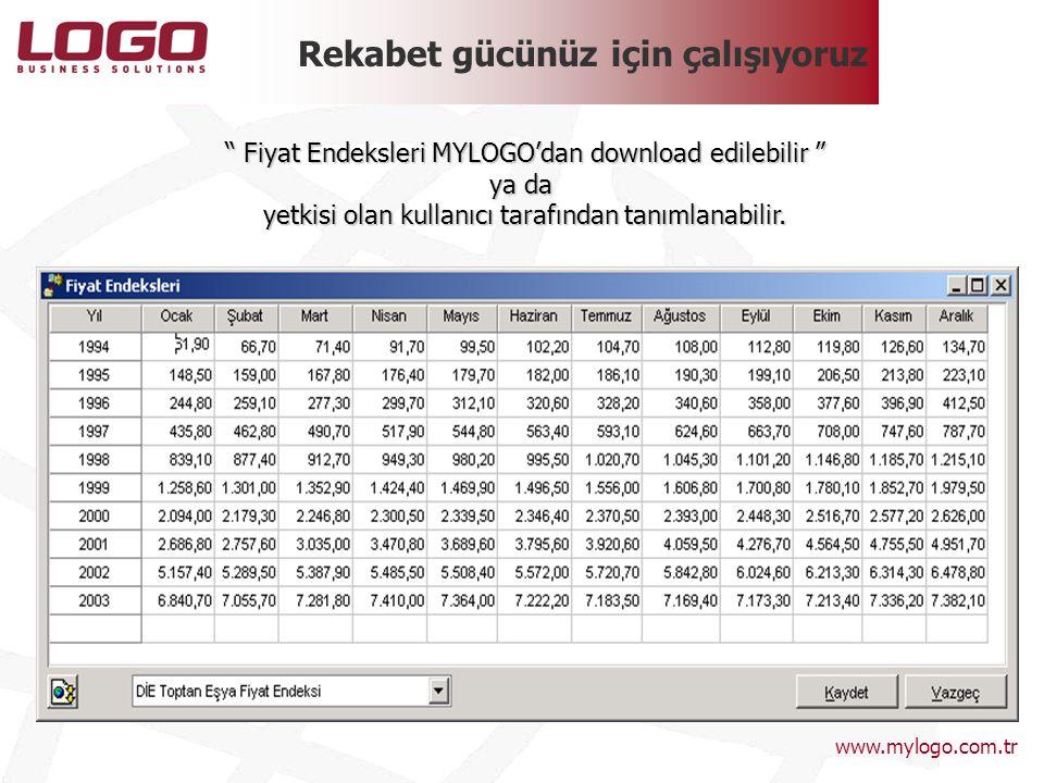 """Rekabet gücünüz için çalışıyoruz """" Fiyat Endeksleri MYLOGO'dan download edilebilir """" ya da yetkisi olan kullanıcı tarafından tanımlanabilir. www.mylog"""