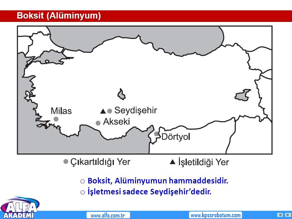 Boksit (Alüminyum) o Boksit, Alüminyumun hammaddesidir. o İşletmesi sadece Seydişehir'dedir. www.alfa.com.tr www.kpssrobotum.com