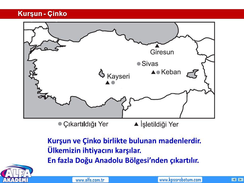 Kurşun - Çinko Kurşun ve Çinko birlikte bulunan madenlerdir. Ülkemizin ihtiyacını karşılar. En fazla Doğu Anadolu Bölgesi'nden çıkartılır. www.alfa.co