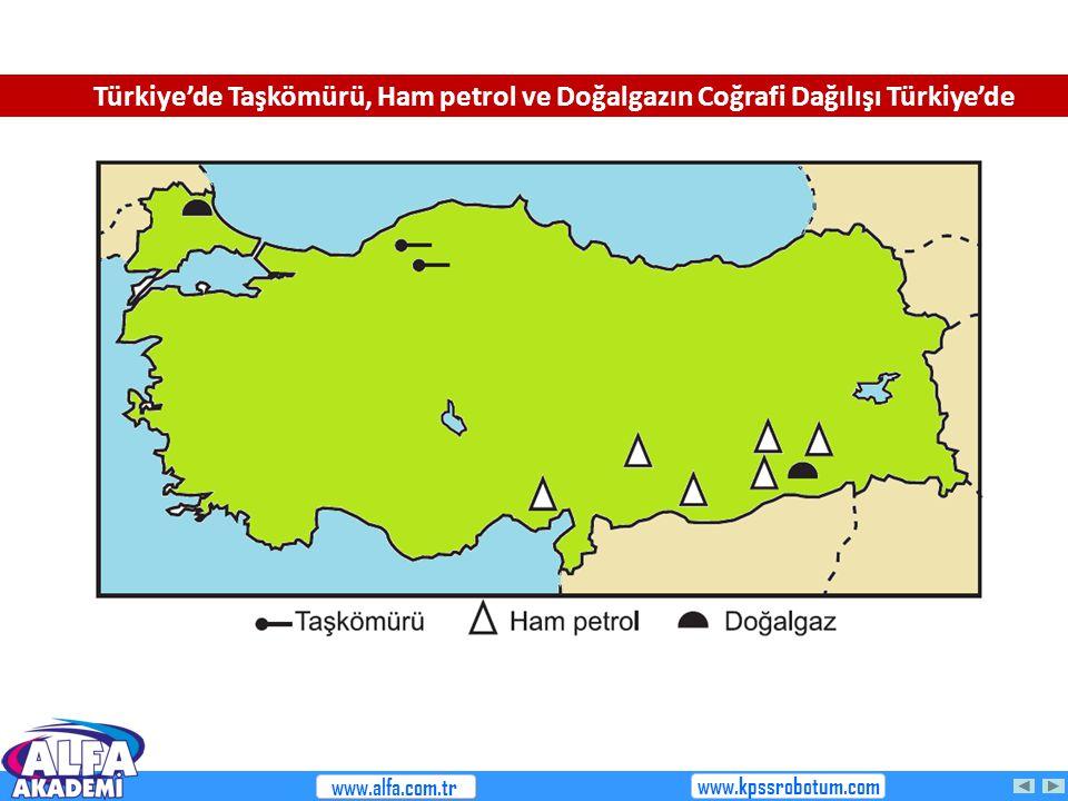 Türkiye'de Taşkömürü, Ham petrol ve Doğalgazın Coğrafi Dağılışı Türkiye'de www.alfa.com.tr www.kpssrobotum.com