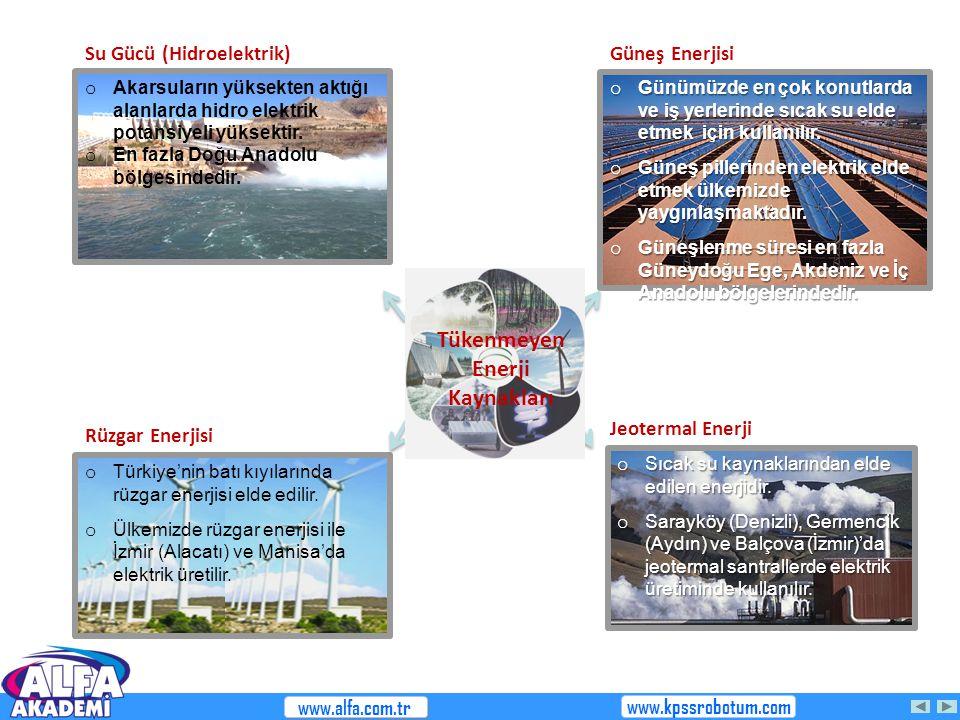 o Türkiye'nin batı kıyılarında rüzgar enerjisi elde edilir. o Ülkemizde rüzgar enerjisi ile İzmir (Alacatı) ve Manisa'da elektrik üretilir. o Günümüzd