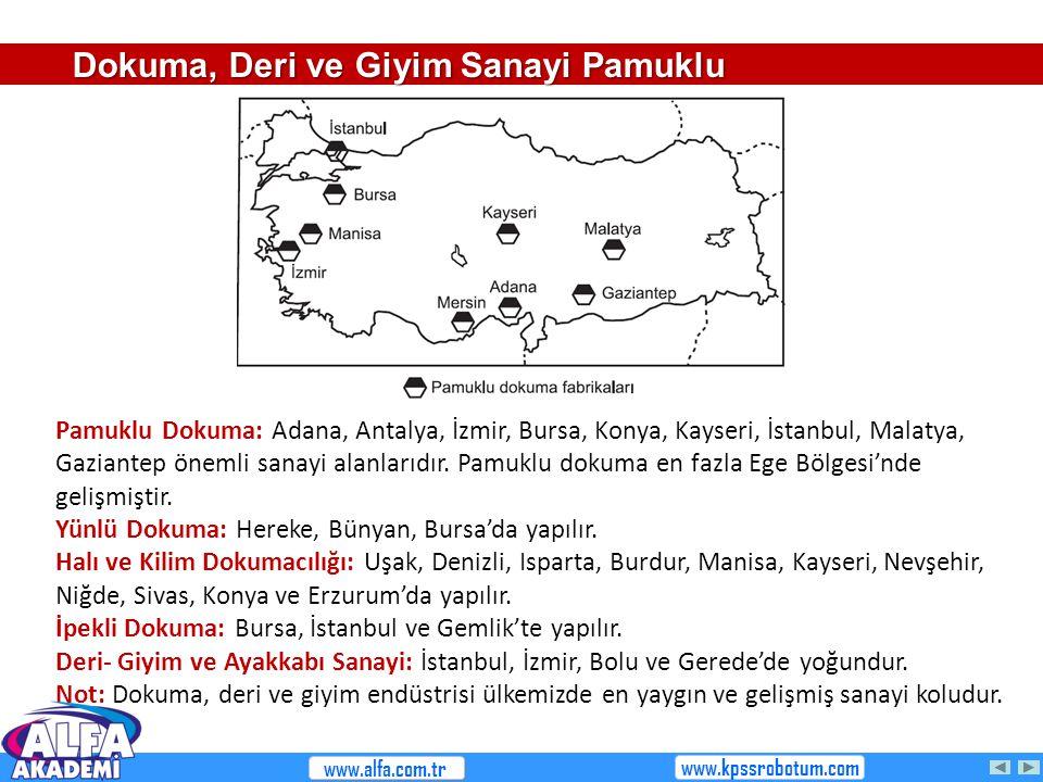 Pamuklu Dokuma: Adana, Antalya, İzmir, Bursa, Konya, Kayseri, İstanbul, Malatya, Gaziantep önemli sanayi alanlarıdır. Pamuklu dokuma en fazla Ege Bölg