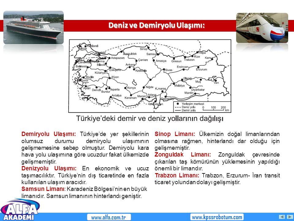 Deniz ve Demiryolu Ulaşımı: Demiryolu Ulaşımı: Türkiye'de yer şekillerinin olumsuz durumu demiryolu ulaşımının gelişmemesine sebep olmuştur. Demiryolu