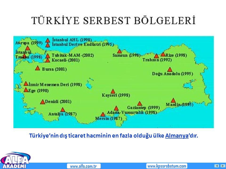 Türkiye'nin dış ticaret hacminin en fazla olduğu ülke Almanya'dır. www.alfa.com.tr www.kpssrobotum.com