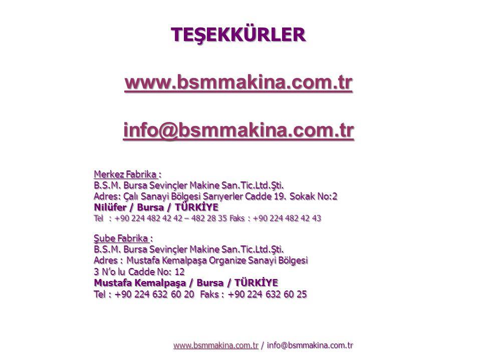 www.bsmmakina.com.tr / info@bsmmakina.com.tr www.bsmmakina.com.tr Merkez Fabrika : B.S.M. Bursa Sevinçler Makine San.Tic.Ltd.Şti. Adres: Çalı Sanayi B