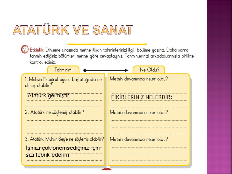 Atatürk gelmiştir. İşinizi çok önemsediğiniz için sizi tebrik ederim. FİKİRLERİNİZ NELERDİR?