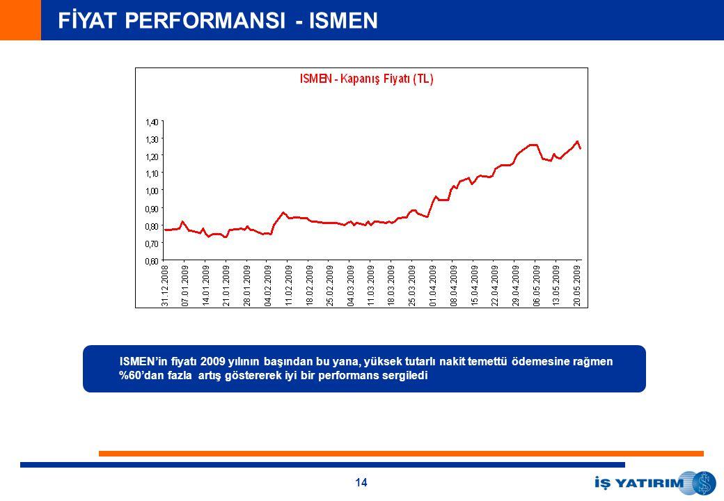 14 FİYAT PERFORMANSI - ISMEN ISMEN'in fiyatı 2009 yılının başından bu yana, yüksek tutarlı nakit temettü ödemesine rağmen %60'dan fazla artış göstererek iyi bir performans sergiledi