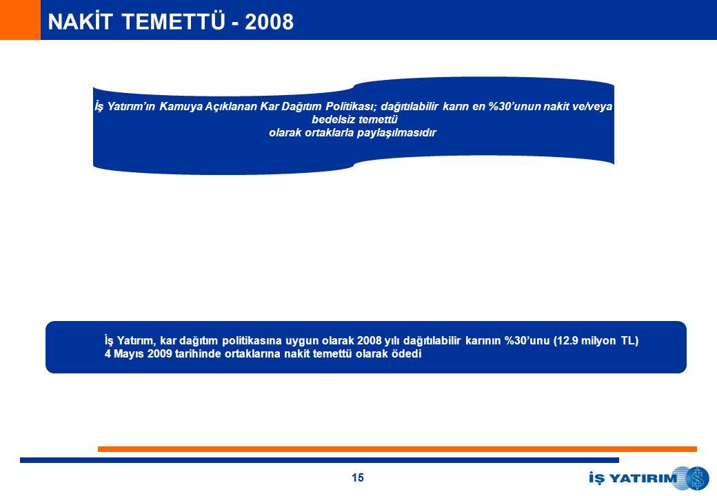 15 NAKİT TEMETTÜ - 2008 İş Yatırım, kar dağıtım politikasına uygun olarak 2008 yılı dağıtılabilir karının %30'unu (12.9 milyon TL) 4 Mayıs 2009 tarihinde ortaklarına nakit temettü olarak ödedi İş Yatırım'ın Kamuya Açıklanan Kar Dağıtım Politikası; dağıtılabilir karın en %30'unun nakit ve/veya bedelsiz temettü olarak ortaklarla paylaşılmasıdır