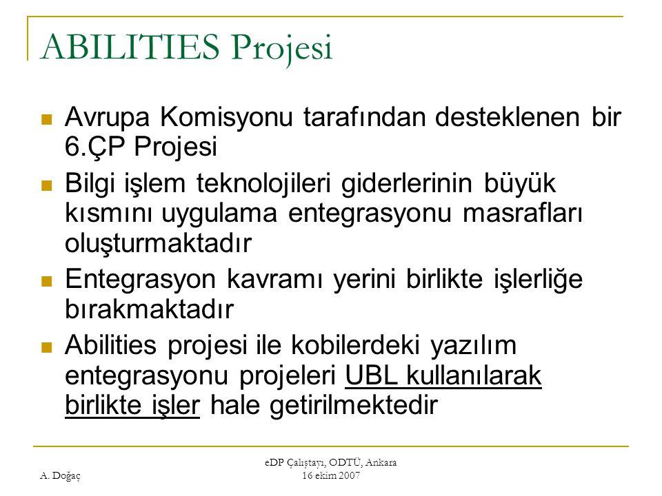 A. Doğaç eDP Çalıştayı, ODTÜ, Ankara 16 ekim 2007 ABILITIES Projesi Avrupa Komisyonu tarafından desteklenen bir 6.ÇP Projesi Bilgi işlem teknolojileri